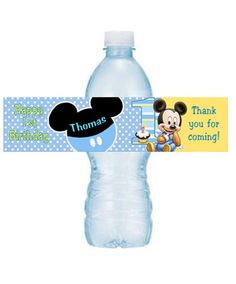 BABY MICKEY MOUSE PERSONALIZED 1ST BIRTHDAY PARTY WATER BOTTLE LABELS on eBay!