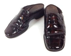 MEPHISTO-Shoes-LEATHER-Brown-COMFORT-Croc-Emb-FRANCE-Air-Jet-ATHLETIC-Slides-9-M