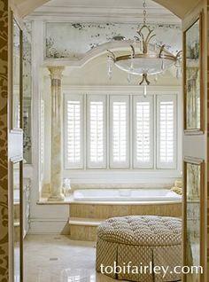 Regal master bathroom design by Tobi Fairley. I really like this style of vanity. Dream Bathrooms, Beautiful Bathrooms, Beautiful Interiors, Beautiful Homes, Relax, Interior Decorating, Interior Design, Luxury Bath, Bath Design