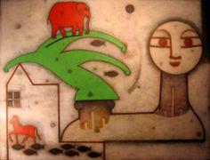 Hombre con hombro Acrilico / tela 135 x170 (cm)