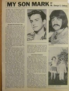 Mark's father George wrote an article about Mark.Sorry I can't decipher it.