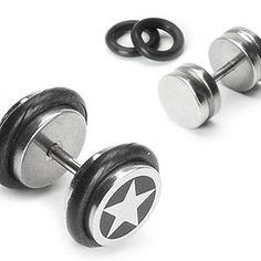 Amazon.com: Body Accentz® Earrings Rings Fake Cheater Star Plug 16 gauge pair HO180: Jewelry