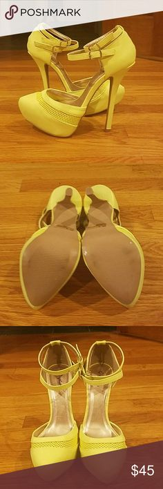"""NEVER WORN. Yellowish Green Closed Toe NEVER WORN. Yellowish Green Closed Toe  Platforms. Just took out if plastic to take pictures. See picture #4. Double ankle strap with gold hardware. Platform: 1-1/2"""" Heel: 6"""" Love them but was looking for a true yellow these are yellow with a green tint. Qupid Shoes Platforms"""