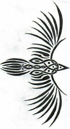 celtic raven Symbols Pagan Tattoo Designs Reminds me of my tribal phoenix It would pair well too. Heidnisches Tattoo, Rabe Tattoo, Pagan Tattoo, Body Art Tattoos, Tribal Tattoos, Tattoo Symbols, Polynesian Tattoos, Grey Tattoo, Geometric Tattoos