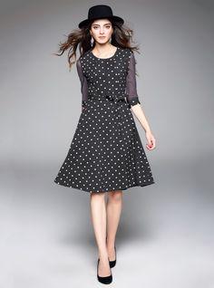 Black Polka Dot Grenadine Patchwork Tie Waist Half Sleeve A-Line Midi Dress