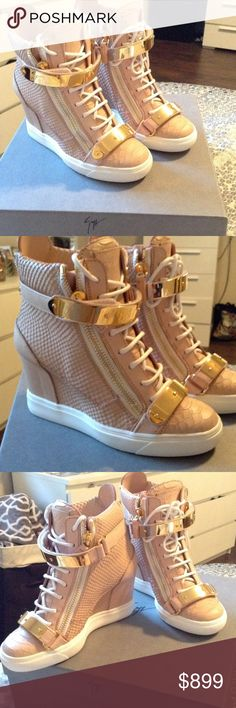 Giuseppe Zanotti Lorenz Rosa Sneaker Wedge 37 New in box, authentic Giuseppe Zanotti sneaker, High top style wedge style. Golia printed in color Rosa size 37. Purchased in Giuseppe Store. White laces with gold embellishment buckle. Comes with box and dust bag Giuseppe Zanotti Shoes Sneakers