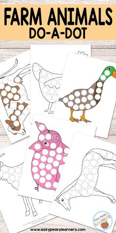 Free Farm Animals Do a Dot Printables - Easy Peasy Learners Farm Animals Preschool, Farm Animal Crafts, Farm Theme Crafts, Preschool Farm Crafts, Preschool Worksheets, Kid Crafts, Farm Activities, Animal Activities, Educational Activities