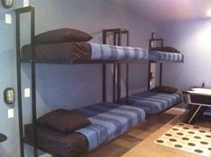 Folding bunk bed plans Maximize space by placing a custom side fold Murphy bunk bed in an unused closet or odd sized nook in a room Bunk Bed Sets, Bunk Bed Plans, Murphy Bed Plans, Kids Bunk Beds, Modern Murphy Beds, Murphy Bed Ikea, Bunk Beds With Stairs, Decorate Your Room, Bed Mattress