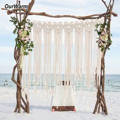 OurWarm Boho Wedding Backdrop Party Photo Booth Macrame Cotton Rope Tassel Curtain for Home Room Wall Hanging Decoration Packing list: macrame wedding backdrop Color: Beige Size: Material: cotton rope Application: Boho Wedding , home room decoration Rustic Wedding Photos, Boho Wedding, Elegant Wedding, Wedding House, Wedding Simple, Wedding Beach, Fall Wedding, Party Kulissen, Party Favors