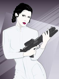 """The Princess"" by Craig Drake, a Patrick Nagel-style Star Wars poster that came out as a very limited edition a couple years back. Wish I'd managed to grab one. Star Wars Film, Star Wars Poster, Star Wars Mädchen, Patrick Nagel, Simon Le Bon, Joan Collins, Carrie Fisher, Star Wars Kunst, Rad Tattoo"