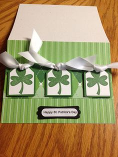 Stampin Up Homemade Greeting Card Happy St.Patrick's Day 3 Shamrocks' on Etsy, $1.35