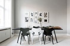 Black and White Fritz Hansen Grand Prix chairs. http://www.paletteandparlor.com/products/arne-jacobsen-grand-prix-chair
