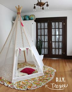 Play teepees aren't the new kid on the block anymore but that doesn't make them any less exciting! I made my first version for Sebastian when he was two by constructing a simple frame and throwing a quilt around it. Soon after I made a more complicated cover and gifted it to Elsie and Jeremy for Christmas. Recently Elsie asked if I could make another for their new home out...