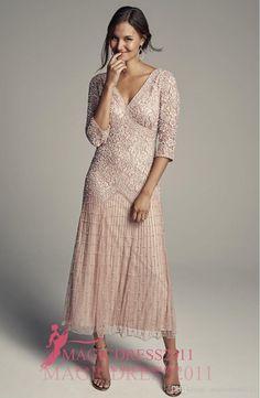 Elegant Blush Pink Major Beaded Mother Of The Bride Dresses 2016 Sheath V-Neck…