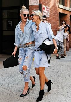 """Double denim – or mix and match separate denim pieces in one outfit (also known as """"denim on denim"""") – is a trend of fashion that continues, season after season. We love denim on denim as a stylish choice to… Continue Reading → Denim Fashion, Look Fashion, Womens Fashion, Fashion Trends, Hippie Fashion, Net Fashion, Fashion Tag, Fashion Details, Fashion Clothes"""