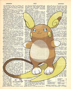 Alola Raichu Pokemon Dictionary Art Print by MollyMuffinsPrints