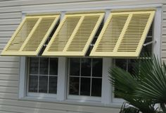 Why would a company like Shutterstile, known for its innovative shutter designs, offer a more traditional Bahama style shutter? Bahama shutters are al… Exterior House Colors, Interior Exterior, Exterior Doors, Diy Exterior, Bermuda Shutters, Bahama Shutters, Diy Shutters, Window Shutters, Nautical Shutters