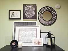 DIY ----- Fabric Inlay Mirror | Bower Power---chalkboard art and mirror for Hallway Gallery Wall