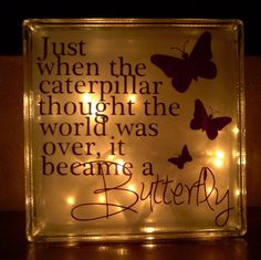 Caterpillar Became a Butterfly Glass Block Light – Ceramic Art, Ceramic Pottery Painted Glass Blocks, Lighted Glass Blocks, Glass Cube, Glass Boxes, Vinyl Projects, Craft Projects, Project Ideas, Glass Block Crafts, Glass Brick