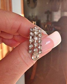 Vintage Rhinestone Earrings Formal Wear Screw by bettysworld4u
