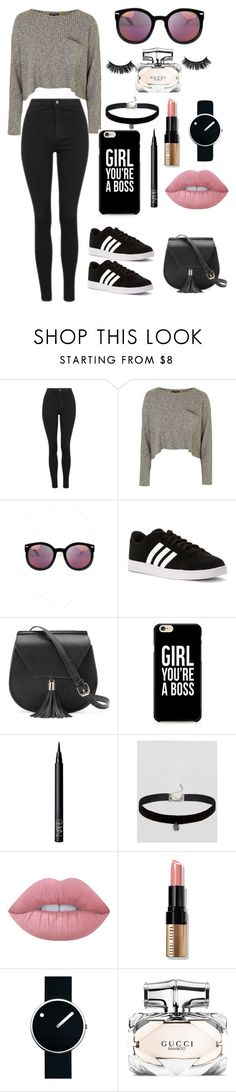 """Untitled #22"" by polygirl109 ❤ liked on Polyvore featuring Topshop, adidas, Yoki, NARS Cosmetics, ASOS, Lime Crime, Bobbi Brown Cosmetics, Rosendahl and Gucci"