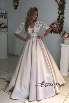 Puff Illusion A-Line Elegant Half-Sleeves Appliques Lace Wedding Dress_High Quality Wedding Dresses, Prom Dresses, Evening Dresses, Bridesmaid Dresses, Homecoming Dress - 27DRESS.COM