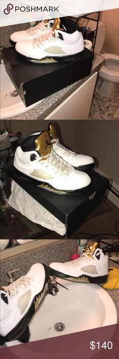 Jordan Olympic 5s with the box Worn a couple time with a custom paint job whitened and cleaned for the best quality Jordan Shoes Sneakers