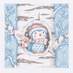 """He Sings a Love Song - Annabel Spenceley -- I took the title from the Christmas carol """"Winter Wonderland"""" . Gone away is the bluebird, Here to stay is a new bird He sings a love song, As we go along, Walking in a winter wonderland. Winter Illustration, Christmas Illustration, Cute Drawings, Animal Drawings, Happy Owl, Decoupage, Owl Photos, Owl Cartoon, Christmas Owls"""
