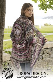 "Crochet DROPS jacket with lace pattern in ""Big Delight"". Size: S - XXXL ~ DROPS Design"
