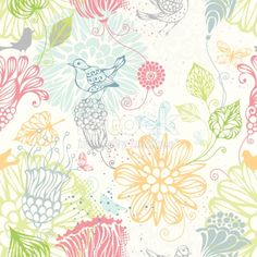 187772084 - Ornate bright pattern with flowers, butterflies and birds for your design. Can be used for wrapping paper. EPS 8.