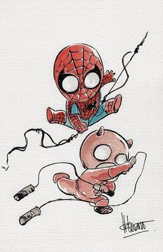 Baby Spider-Man and Daredevil Art Print by Ferry Ickhwano