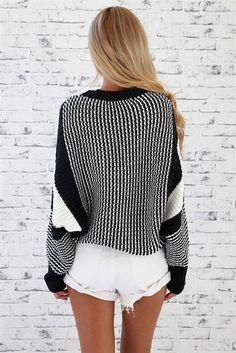 big sweaters + white shorts