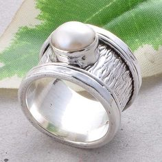 PEARL ANTIQUE 925 STERLING SILVER STONE CASTING RING 10.05g R01527 #Handmade #RING