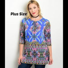 "COMING SOONTopaz Boho Tunic Adorable boho tunic in an eye catching pattern and featuring figure flattering side slits, 95%poly/5%spandex provides a smooth soft feel, 33"" long, price will be $49 Paicar Concepts Tops Tunics"