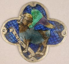 Plaque with the Ox of Saint Luke Date: 14th century Geography: Made in Catalonia, Spain Culture: Catalan Medium: Basse taille enamel, silver Dimensions: Overall: 2 x 2 1/8 x 1/16 in. (5.1 x 5.4 x 0.1 cm)