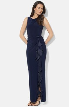 Lauren Ralph Lauren Ruffle Matte Jersey Gown available at #Nordstrom