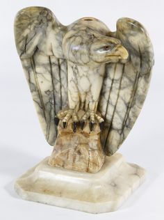 Lot 177: Carved Alabaster Eagle; Having incised signature on the underside and a marble base; possible a lamp base