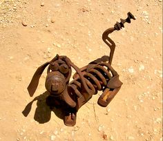 Wiener dog made from upcycled metal parts