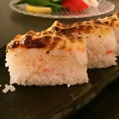 The #mikueffect - every sushi joint does aburi now. This is the ebi oishi #aburi battera with shrimp and real crab meat.  Good rice creamy sweet and subtle. #sushi #vancouverfood #pregamemeal by moyenchow