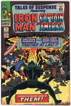Drawing Marvel Comics Tales of Suspense 78 - Captain America - Fight - Marvel - Marvel Comics - Ironman - Jack Kirby Marvel Comics Superheroes, Marvel Comic Books, Comic Book Heroes, Comic Books Art, Marvel Marvel, Dc Comics, Planet Comics, Comic Book Artists, Comic Book Characters