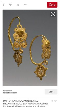 Pair of Late Roman or Byzantine Gold Ear Pendants, Central front panel with grape leaves and clusters beneath boss, twisted loop wire and stationary pendant with cruciform design, ca. Byzantine Gold, Byzantine Jewelry, Renaissance Jewelry, Medieval Jewelry, Ancient Jewelry, Antique Jewelry, Vintage Jewelry, Wiccan Jewelry, Ethnic Jewelry