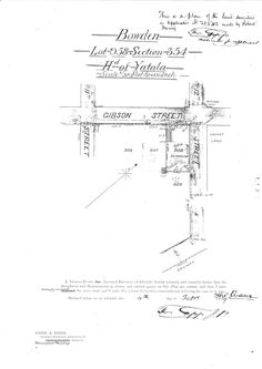 """This map shows the position of the first property James Cook purchased in South Australia. He paid 4 pound on 15 Feb 1849. The address for this property now is 103a Gibson St, Bowden. James Cook advertised the house for sale in April 1853:  """"FOR SALE, at BOWDEN, a neat well-built three-roomed stone COTTAGE, with well of water, and good garden, all walled in. Apply to James Cook, near the Oddfellows' Arms, Bowden.""""The house was not sold though, until 1858."""