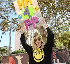 Representin': Miley Cyrus represented her non-profit Happy Hippie Foundation while joining...