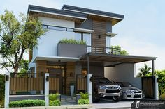 Aguilos Two Storey Residence on Behance Modern Filipino House, Modern Zen House, Modern Tropical House, Tropical House Design, Modern House Plans, Zen House Design, 2 Storey House Design, Village House Design, House Front Design