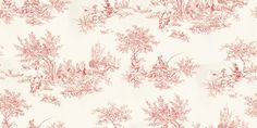 Etienne (60107) - Harlequin Wallpapers - A traditional style French inspired pastoral scene toile – a classic given a twist with some contemporary colours together with traditional colours. Available in 8 colours – shown in the red on cream. Please ask for sample for true colour match.