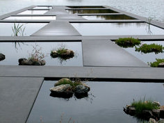 Detail of Water Garden, Bordeaux Botanical Garden. La Bastide, Bordeaux, France by Mosbach Paysagistes Architectural Landscape Design