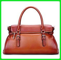 Rossie Viren Cervo Antic Brown Leather Folderover Bowler Satchel Handbag For Women - Totes (*Amazon Partner-Link)