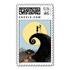 Jack and Sally Holding Hands Under the Moon Postage Stamps