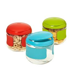 Pour cereal or raisins into these little guys. They're the perfect serving size, and will save you from cleaning ancient crumbs from your kids' backpacks. (Flip-top snack cups, $5.99 each; containerstore.com)
