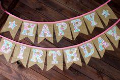 Teal & Pink Paisley Reusable Burlap Happy by MsRogersNeighborhood